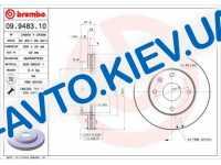 Диск тормозной передний  Brembo  (09.9483.10) Premium Lacetti c 2005